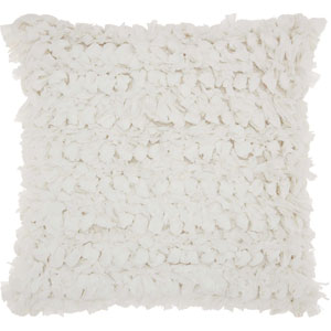 Shag Paper Loop Shag White 20 In. Throw Pillow