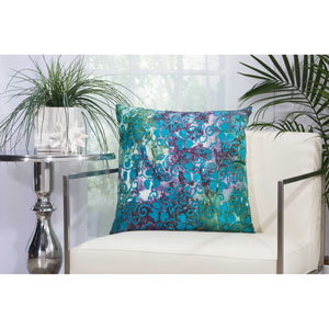 Floral Watercolor Multicolor 20 In. Outdoor Throw Pillow with Polyester Fill