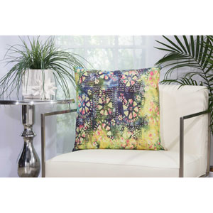 Watercolor Petals Multicolor 20 In. Outdoor Throw Pillow with Polyester Fill