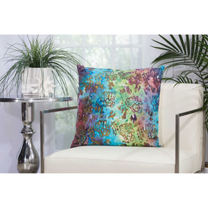 Watercolor Elephants Multicolor 20 In. Outdoor Throw Pillow with Polyester Fill