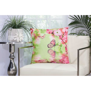 Butterfly Reflection Multicolor 20 In. Outdoor Throw Pillow with Polyester Fill