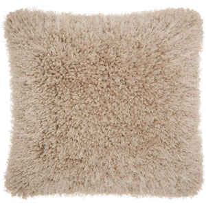 Shag Lush Yarn Beige 20 In. Throw Pillow
