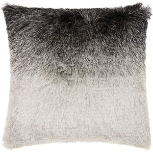 Shag Illusion Shag Black and Silver 20 In. Throw Pillow