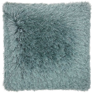 Shag Yarn Shimmer Shag Celadon 20 In. Throw Pillow