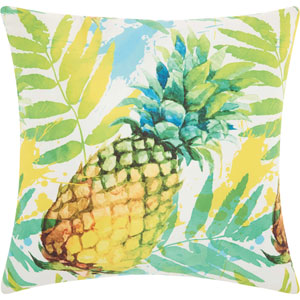 Watercolor Pineapple Multicolor 20 In. Outdoor Throw Pillow with Polyester Fill