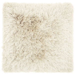 Yarn Shimmer Shag Beige 20 In. Throw Pillow