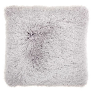 Shag Yarn Shimmer Shag Light Grey 20 In. Throw Pillow