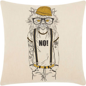 Trendy, Hip and New-Age Tattooed Cat Natural 18 In. Throw Pillow