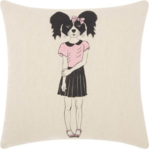 Trendy, Hip and New-Age Cute Girl Collie Natural 18 In. Throw Pillow