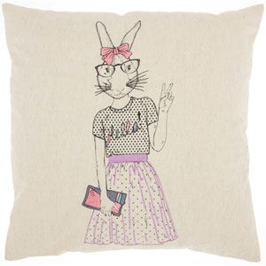 Trendy, Hip and New-Age Cute Peace Bunny Natural 18 In. Throw Pillow