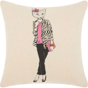 Trendy, Hip and New-Age Classy Kitty Natural 18 In. Throw Pillow