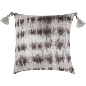 Life Styles Velvet Tie Dye Black and Silver 20 In. Throw Pillow