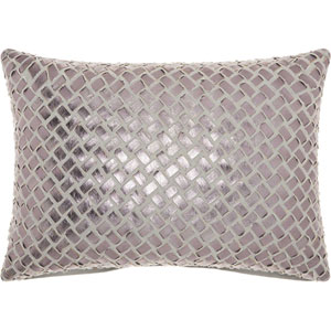 Trendy, Hip and New-Age Woven Faux Leather Grey and Pewter 14 x 20 In. Throw Pillow