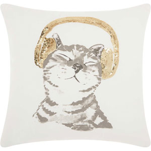 Trendy, Hip and New-Age Dj Glitter Kitten Gold 18 In. Throw Pillow