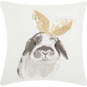 Trendy, Hip and New-Age Glitter Bunny Ears Gold 18 In. Throw Pillow