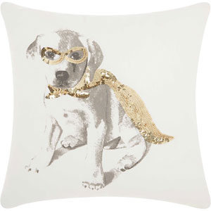 Trendy, Hip and New-Age Glitter Superdog Gold 18 In. Throw Pillow