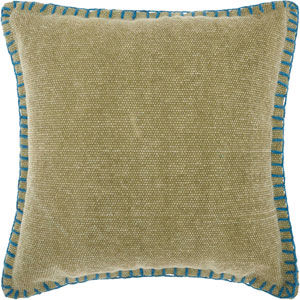 Life Styles Stitched Border Green 20 In. Throw Pillow