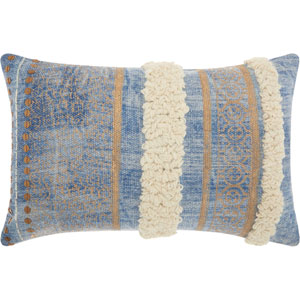 Life Styles Met Boho with Texture Blue 16 x 24 In. Throw Pillow