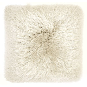 Yarn Shimmer Shag Beige 17 In. Throw Pillow