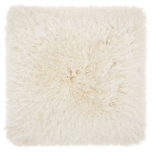 Shag Yarn Shimmer Shag Cream 17 In. Throw Pillow