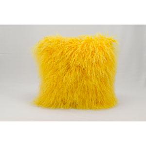 Fur Yellow 16-Inch Pillow