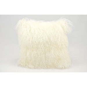 Fur White 16-Inch Pillow