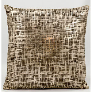 Laser Cut Gold Beige 18-Inch Pillow