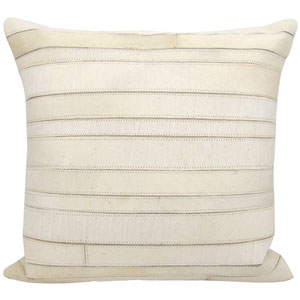 Natural Leather Hide Ivory 20-Inch Pillow