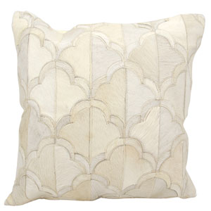 Natural Leather Hide White 20-Inch Pillow