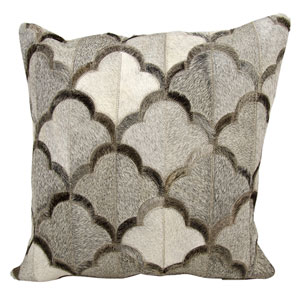 Natural Leather Hide Grey 20-Inch Pillow