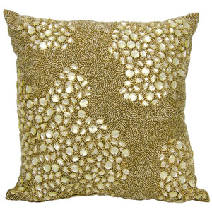 Lumin Fully Beaded Light Gold 20-Inch Pillow