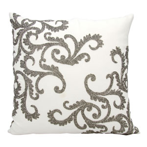 Lumin Beaded Corner Scroll Pewter 20-Inch Pillow