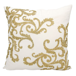 Lumin Beaded Corner Scroll Gold 20-Inch Pillow
