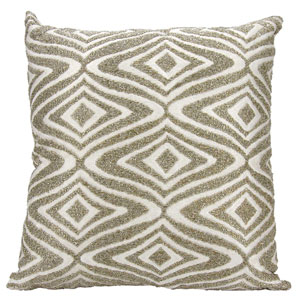 Lumin Beaded Waves Silver 18-Inch Pillow