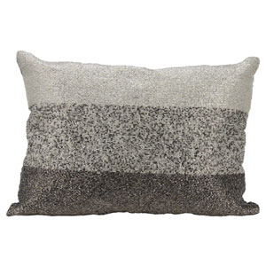Lumin Beaded Gradiation Pewter 14 x 20-Inch Pillow