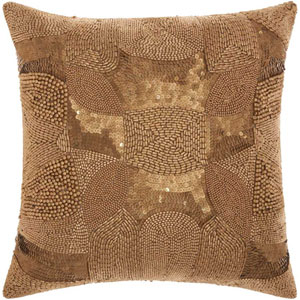 Lumin Antique Beading Light Gold 18-Inch Pillow
