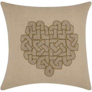 Lumin Woven Heart Silver and Gold 18-Inch Pillow