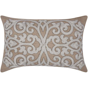 Lumin Beaded Scroll Silver and Gray 12 x 20-Inch Pillow