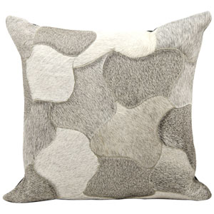 Natural Leather Hide Silver 20-Inch Pillow