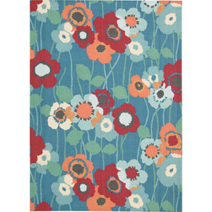 Sun and Shade Blue Bell Rectangular: 5 Ft 3 In x 7 Ft 5 In Rug