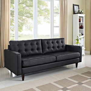 Empress Leather Sofa in Black