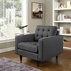 Empress Upholstered Armchair in Gray