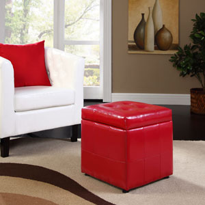 Volt Storage Ottoman in Matte Red