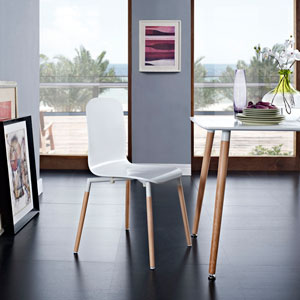 Stack Dining Wood Side Chair in White