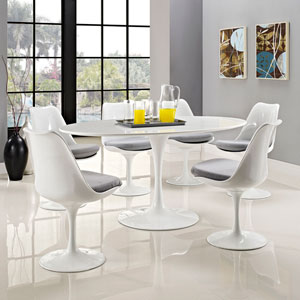 Lippa 60-inch Oval-Shaped Wood Top Dining Table in White