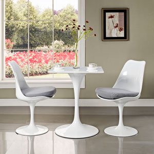 Lippa 24-inch Square Wood Top Dining Table in White