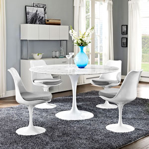 Lippa 54-inch Artificial Marble Dining Table in White
