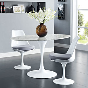 Lippa 54-inch Oval-Shaped Artificial Marble Dining Table in White