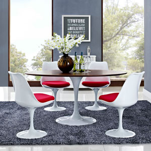 Lippa 60-inch Oval-Shaped Walnut Dining Table in Walnut