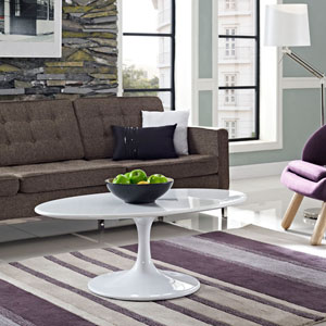 Lippa 42-inch Oval-Shaped Wood Top Coffee Table in White